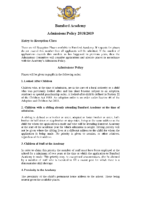Admissions policy 2018-19