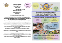 February Multi Activity Club 2017 – Front Cover of Letter